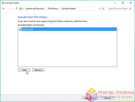 Backup data with file history in Windows