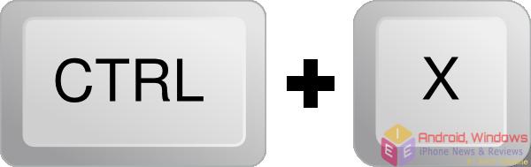 Cut a selected item: Ctrl+X - windows shortcuts