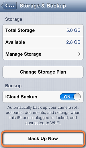 Step 3 How to Backup iPhone to iCloud: Click Backup now