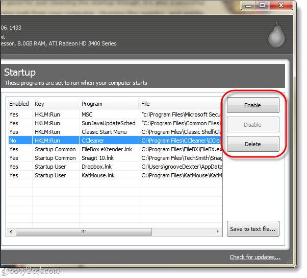 manage startup applications using CCleaner: delete or disable startup programs using Cclenaer
