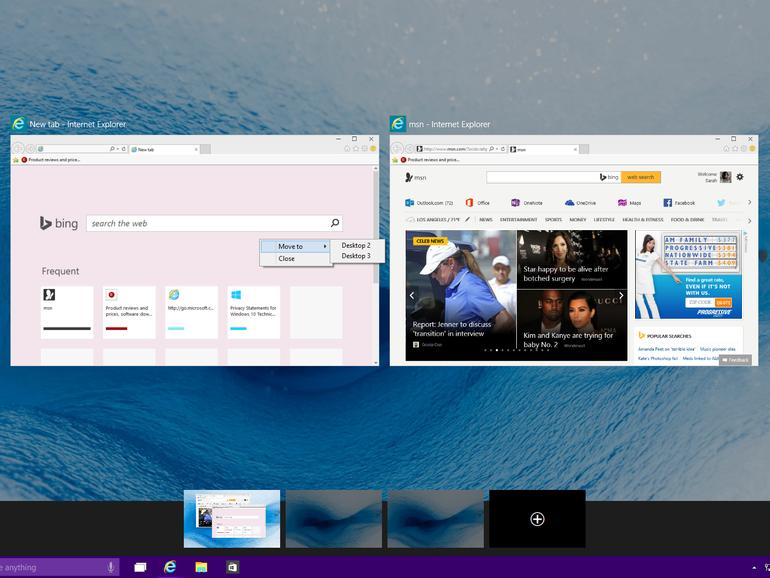 Step 3: How to use multiple desktops in Windows 10: win 10 multiple desktops: