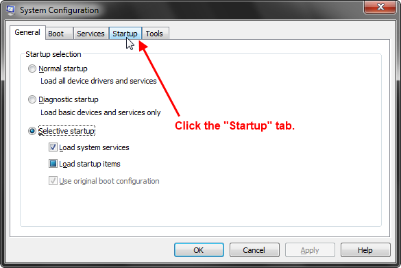 MSConfig Click on startup tab