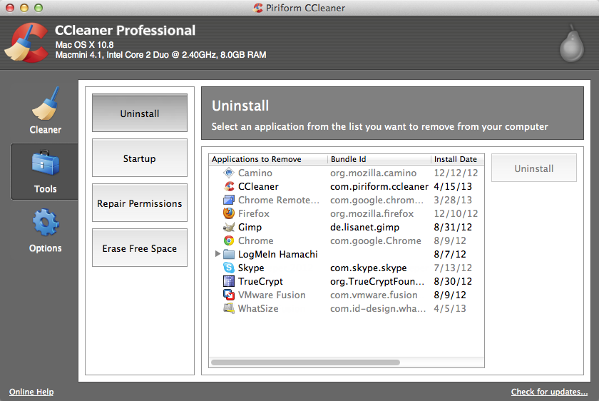 CCleaner running in Windows 10 Tools tab