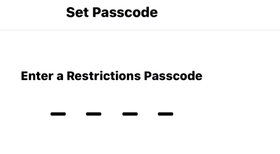 Set Password for Restrictions : How to block websites on iPhone safari, Chrome Firefox browser: parental control or iPhone restrictions: blacklist specific content or sites in Safari for iPhone and iPad
