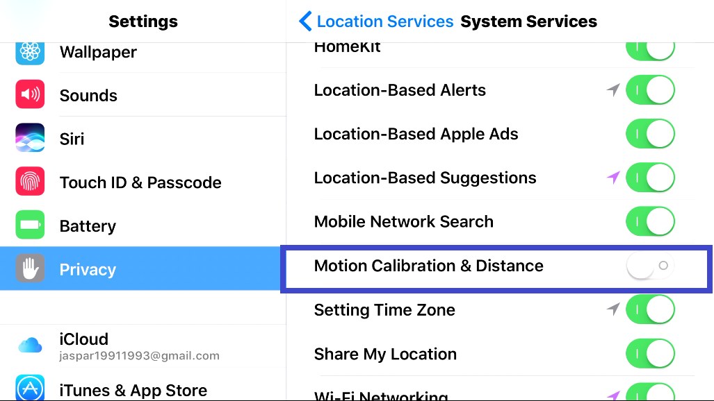 Scroll down and find Motion calibration and distance tab: new tab of Location and system services will open: Scroll down and find system services: Apple watch not counting steps