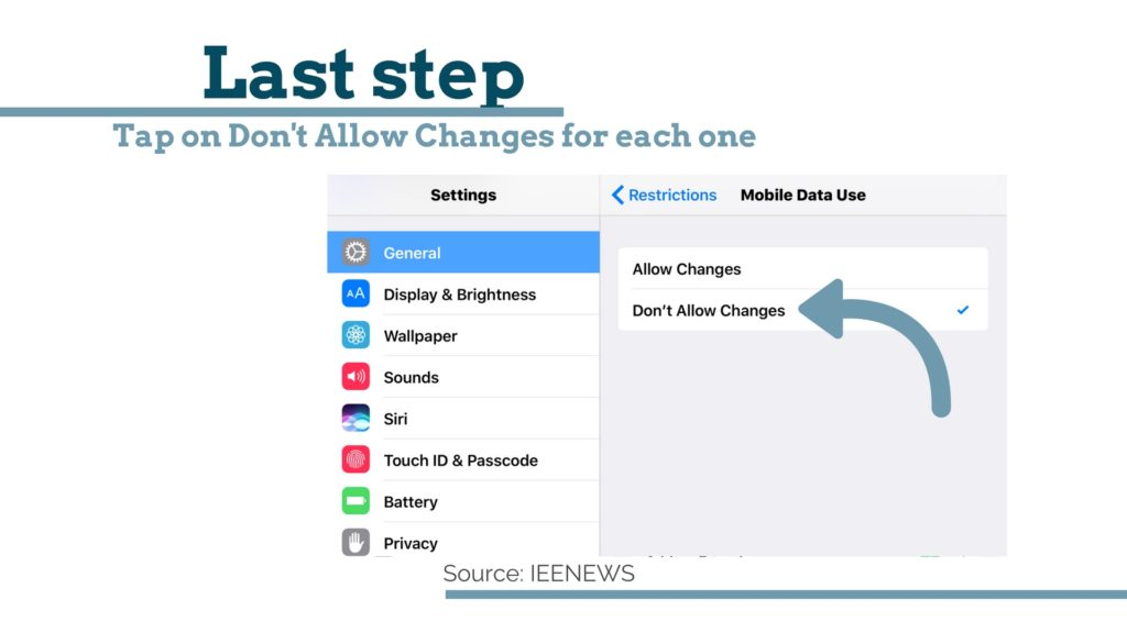How to limit data usage on iPhone With Pictures: Tap on Don't Allow Changes