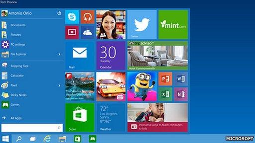 Microsoft unveils windows 10 with start menu