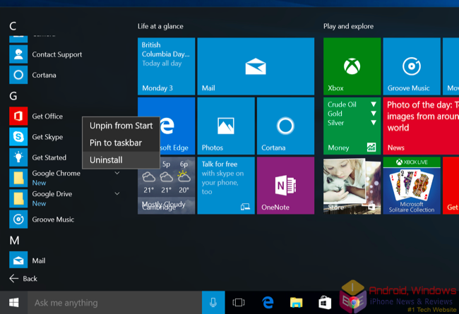 How to Uninstall apps in Windows 10