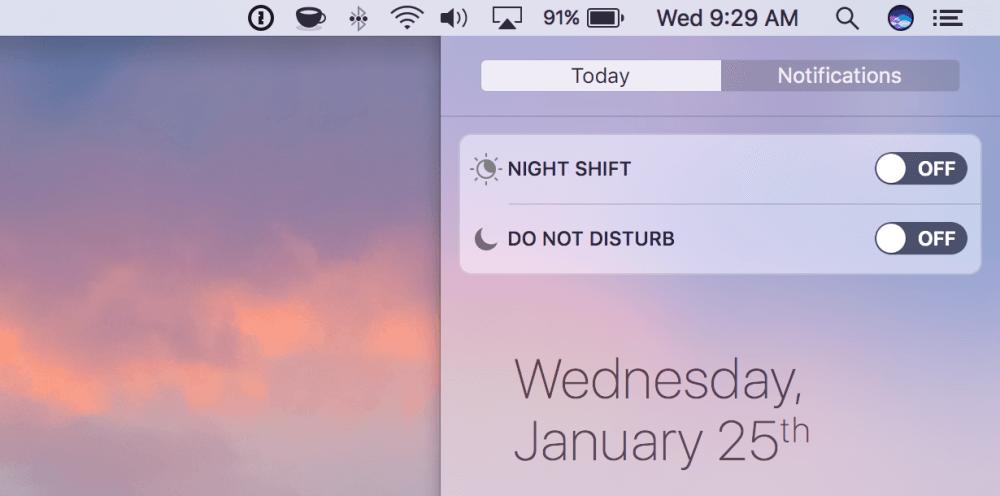 Enable Mac Night Shift: MacOS Sierra night shift