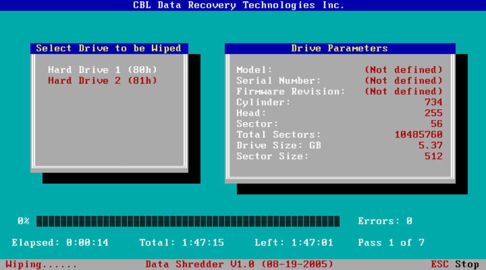 CBL Data Shredder How to wipe a hard drive , Hard drive eraser