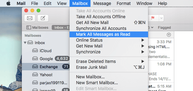 Mark all emails as read on MacBook Air or Macbook Pro (macOS High Sierra)