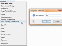 How to change the extension of a file in Windows
